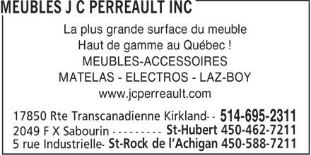 Meubles j c perreault inc 17850 rte trans canada for Meuble en gros laval