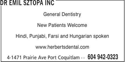 Dr Emil Sztopa (604-942-0323) - Annonce illustrée======= - General Dentistry New Patients Welcome Hindi, Punjabi, Farsi and Hungarian spoken www.herbertsdental.com