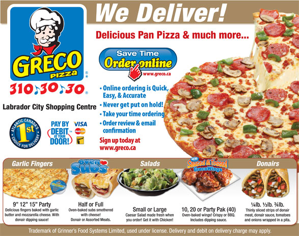 Greco Pizza (902-310-3030) - Display Ad -