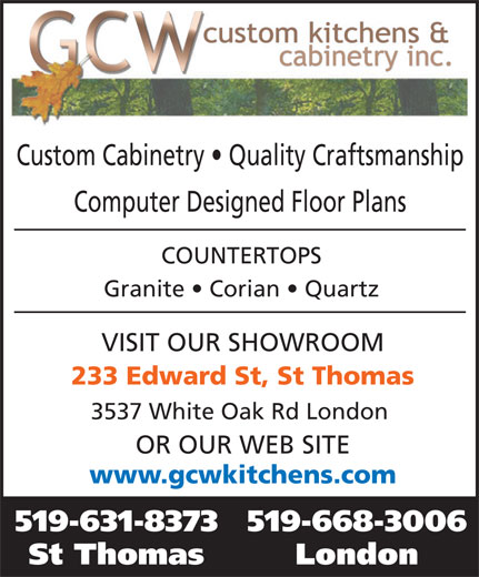Ads GCW Custom Kitchens & Cabinetry Inc