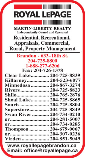 Royal LePage/Martin-Liberty Realty (204-725-8800) - Display Ad - or..............................204-307-0236 Virden.....................204-851-5049 www.royallepagebrandon.ca Residential, Recreational, Appraisals, Commercial, Rural, Property Management Brandon - 633-18th St. 204-725-8800 1-888-277-6206 Fax: 204-726-1378 Clear Lake..............204-725-8839 Killarney.................204-523-6077 Minnedosa..............204-867-3274 Rivers......................204-725-8823 Shilo.........................204-765-2876 Shoal Lake..............204-725-8865 Souris......................204-725-8804 Superstore...............204-725-8849 Swan River.............204-734-0210 or..............................204-281-5007 or..............................204-734-0285 Thompson...............204-679-0067