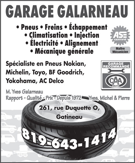 Garage galarneau 261 rue duquette o gatineau qc for Garage specialiste climatisation
