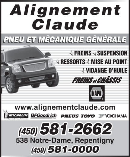 Alignement Claude (450-581-2662) - Display Ad -