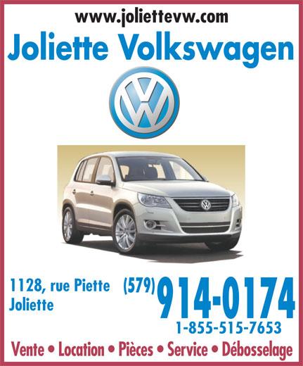 Joliette Volkswagen (450-756-4515) - Annonce illustrée======= - www.joliettevw.com Joliette Volkswagen 1128, rue Piette (579) Joliette 914-0174 1-855-515-7653 Vente   Location   Pièces   Service   Débosselage