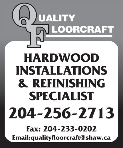 Quality Floorcraft (204-256-2713) - Display Ad -