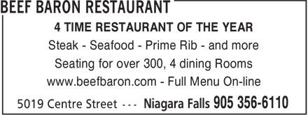 Beef Baron Restaurant (905-356-6110) - Annonce illustrée======= -