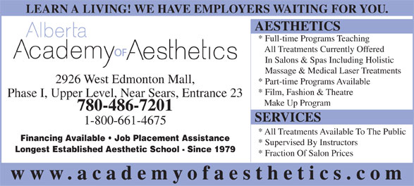 Alberta Academy Of Aesthetics (780-486-7201) - Annonce illustrée======= -