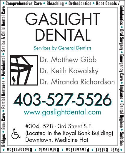 Gaslight Dental Health Centre (403-527-5526) - Annonce illustrée======= -