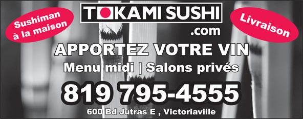 Tokami Sushi (819-795-4555) - Annonce illustrée======= -