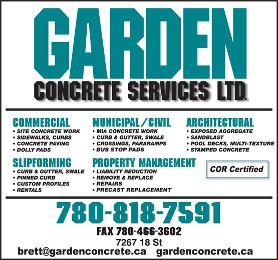 Garden Concrete Services Ltd (780-818-7591) - Annonce illustrée======= - BUS STOP PADS REPAIRS PRECAST REPLACEMENT FAX 780-466-3602 BUS STOP PADS REPAIRS PRECAST REPLACEMENT FAX 780-466-3602