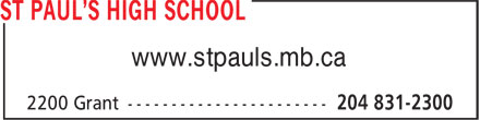 St Paul's High School (204-831-2300) - Annonce illustrée======= - www.stpauls.mb.ca  www.stpauls.mb.ca