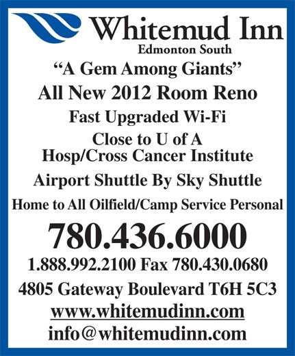 Whitemud Inn Edmonton South (780-436-6000) - Annonce illustrée======= -