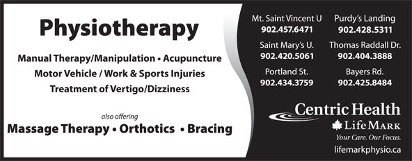 LifeMark Physiotherapy (902-425-8484) - Display Ad -