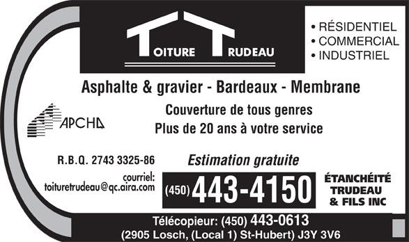 Etanchéité Trudeau & Fils Inc (450-443-4150) - Annonce illustrée======= -
