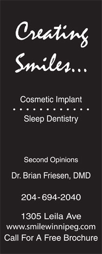 Creating Smiles Cosmetic Implant Sleep Dentistry (204-694-2040) - Display Ad -