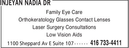 Dr Nadia Injeyan (416-733-4411) - Display Ad - Family Eye Care Orthokeratology Glasses Contact Lenses Laser Surgery Consultations Low Vision Aids