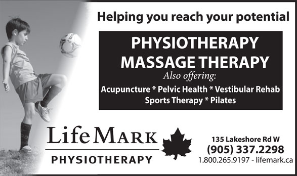 LifeMark Physiotherapy (905-337-2298) - Display Ad - Acupuncture * Pelvic Health * Vestibular Rehab Sports Therapy * Pilates