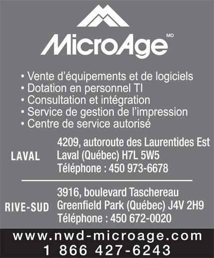 MicroAge (450-973-6678) - Annonce illustrée======= -