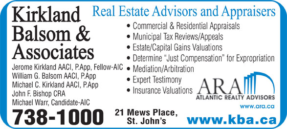 Kirkland Balsom & Associates (709-738-1000) - Display Ad -
