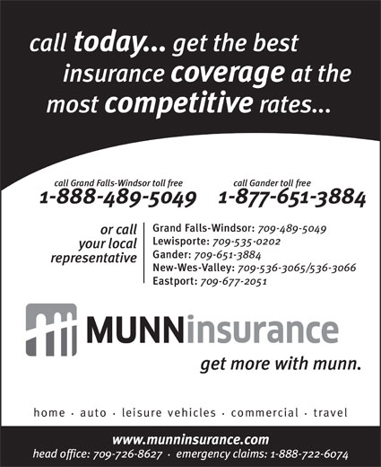 Munn Insurance (709-651-3884) - Annonce illustrée======= -