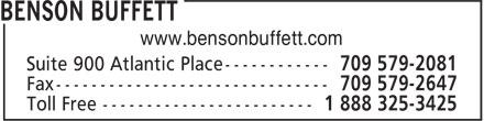 Benson Buffett (709-579-2081) - Display Ad - www.bensonbuffett.com