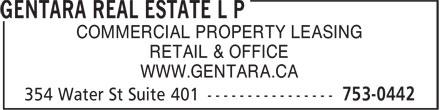 Gentara Real Estate L P (709-753-0442) - Annonce illustrée======= - COMMERCIAL PROPERTY LEASING RETAIL & OFFICE WWW.GENTARA.CA  COMMERCIAL PROPERTY LEASING RETAIL & OFFICE WWW.GENTARA.CA