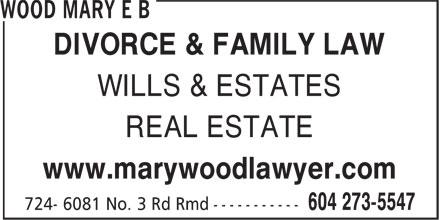 Wood Mary E B (604-273-5547) - Display Ad -