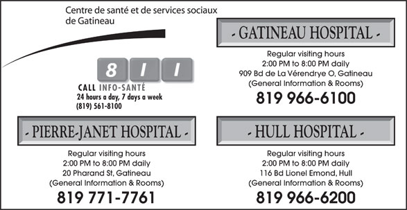 Hôpital de Gatineau (819-966-6100) - Display Ad -