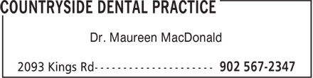 Countryside Dental Practice (902-567-2347) - Display Ad - Dr. Maureen MacDonald
