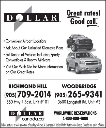 Dollar Rent A Car (905-709-2014) - Annonce illustrée======= -
