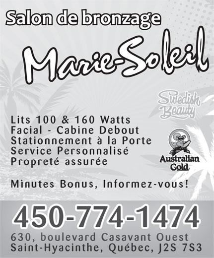 Bronzage Marie-Soleil (450-774-1474) - Display Ad -