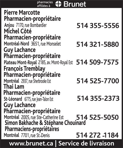 Brunet Pharmacies Affiliées (514-355-5556) - Display Ad -
