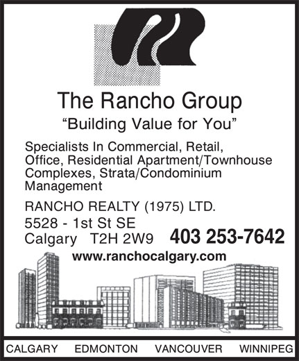 Rancho Realty (1975) Ltd (403-253-7642) - Display Ad - RANCHO REALTY (1975) LTD. 5528 - 1st St SE 403 253-7642 Calgary   T2H 2W9 www.ranchocalgary.com