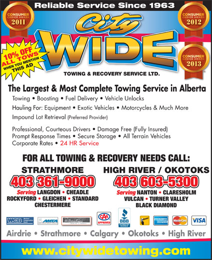 City Wide Towing & Recovery Service Ltd (403-934-6311) - Annonce illustrée======= - Reliable Service Since 1963Re 10% OFF 2013 ALL TOWSWHEN YOU MENTIONTHIS AD TOWING & RECOVERY SERVICE LTD.TOWING & RECOVERY SERVICE LTD. The Largest & Most Complete Towing Service in Alberta Towing   Boosting   Fuel Delivery   Vehicle Unlocks Hauling For: Equipment   Exotic Vehicles   Motorcycles & Much More Impound Lot Retrieval (Preferred Provider) Professional, Courteous Drivers   Damage Free (Fully Insured) Prompt Response Times   Secure Storage   All Terrain Vehicles Corporate Rates 24 HR Service FOR ALL TOWING & RECOVERY NEEDS CALL: STRATHMORE HIGH RIVER / OKOTOKS 403 361-9000403 361-9000 403 603-5300 Serving LANGDON   CHEADLE Serving NANTON   CLARESHOLM ROCKYFORD   GLEICHEN   STANDARD VULCAN   TURNER VALLEY CHESTERMERE BLACK DIAMOND ALBERTA MOTOR TRANSPORT ASSOCIATION APPROVED Airdrie   Strathmore   Calgary   Okotoks   High River www.citywidetowing.com