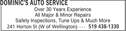 Dominic's Auto Service (519-438-1330) - Display Ad -