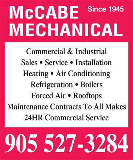 McCabe Mechanical (905-527-3284) - Display Ad -