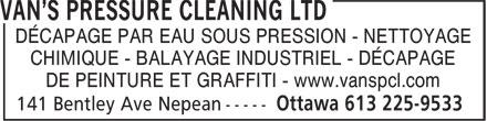 Van's Pressure Cleaning Ltd (613-225-9533) - Annonce illustrée======= - DÉCAPAGE PAR EAU SOUS PRESSION - NETTOYAGE CHIMIQUE - BALAYAGE INDUSTRIEL - DÉCAPAGE DE PEINTURE ET GRAFFITI - www.vanspcl.com
