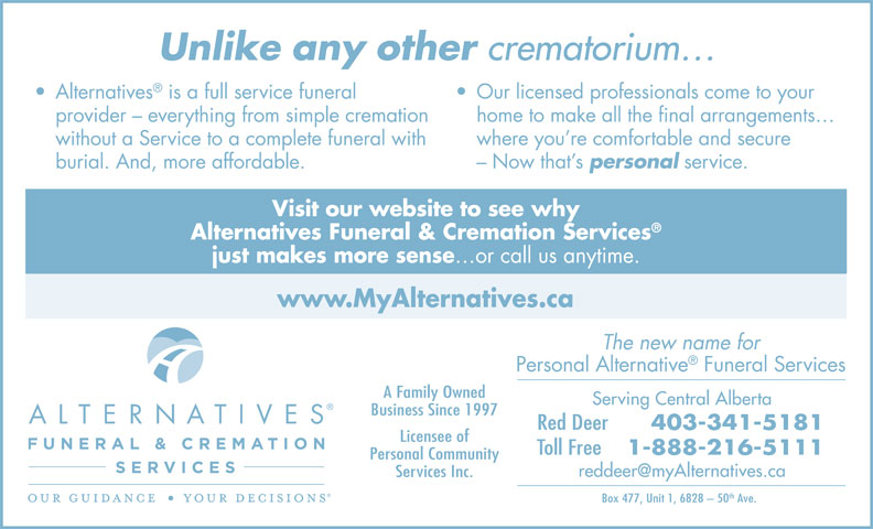 Alternatives Funeral & Cremation Services (403-341-5181) - Display Ad -