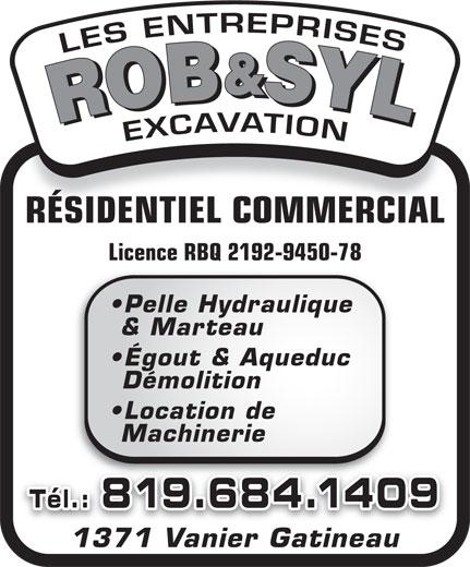 Les Entreprises Rob&Syl Excavation (819-684-1409) - Annonce illustrée======= -