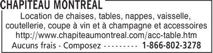 Chapiteau Montréal (1-855-231-0025) - Annonce illustrée======= - Location de chaises, tables, nappes, vaisselle, coutellerie, coupe à vin et à champagne et accessoires http://www.chapiteaumontreal.com/acc-table.htm Location de chaises, tables, nappes, vaisselle, coutellerie, coupe à vin et à champagne et accessoires http://www.chapiteaumontreal.com/acc-table.htm