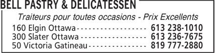 Bell Pastry & Delicatessen (613-238-1010) - Annonce illustrée======= - Traiteurs pour toutes occasions - Prix Excellents