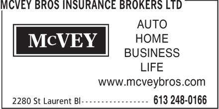 McVey Bros Insurance Brokers Ltd (613-248-0166) - Display Ad - AUTO HOME BUSINESS LIFE www.mcveybros.com AUTO HOME BUSINESS LIFE www.mcveybros.com