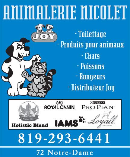 Animalerie Nicolet (819-293-6441) - Annonce illustrée======= - 819-293-6441 72 Notre-Dame