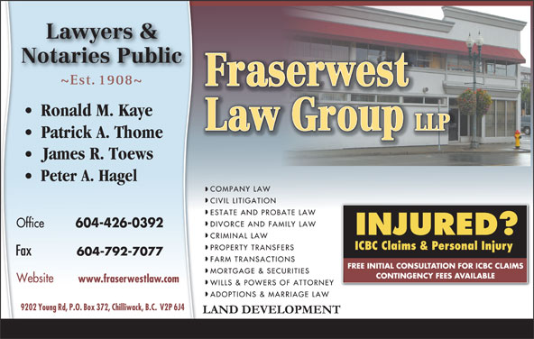 Fraserwest Law Group (604-792-1977) - Display Ad - 604-426-0392