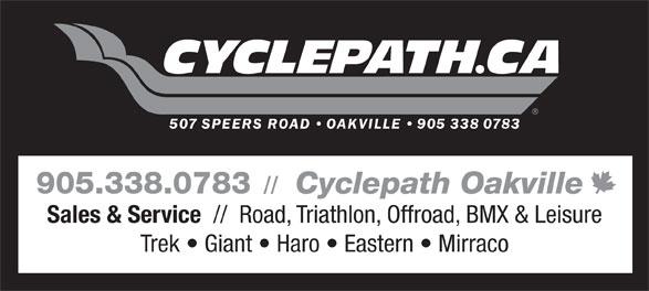 Cyclepath (905-338-0783) - Display Ad - 905.338.0783 // Cyclepath Oakville Sales & Service //  Road, Triathlon, Offroad, BMX & Leisure Trek   Giant   Haro   Eastern   Mirraco