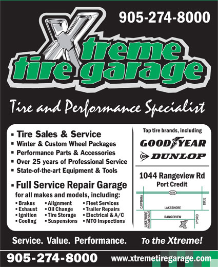 Xtreme Tire Garage Inc (905-274-8000) - Display Ad - Winter & Custom Wheel Packages Performance Parts & Accessories Over 25 years of Professional Service State-of-the-art Equipment & Tools www.xtremetiregarage.com Tire Sales & Service