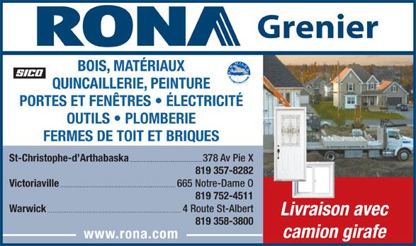 Rona 378 avenue pie x cp 160 st christophe d for Rona porte et fenetre