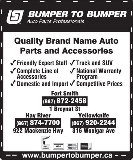 Bumper To Bumper (867-920-2244) - Display Ad -