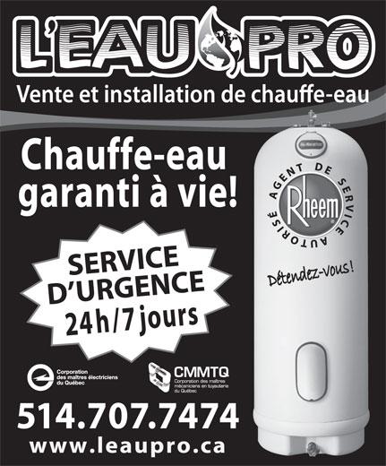 Chauffe-Eau L'Eau Pro (514-707-7474) - Annonce illustrée======= -