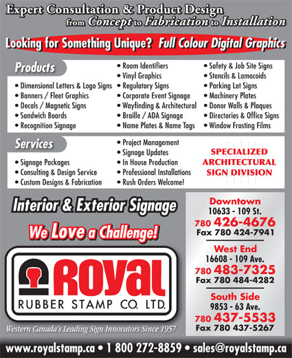 Royal Rubber Stamp Co Ltd (780-426-4676) - Display Ad -